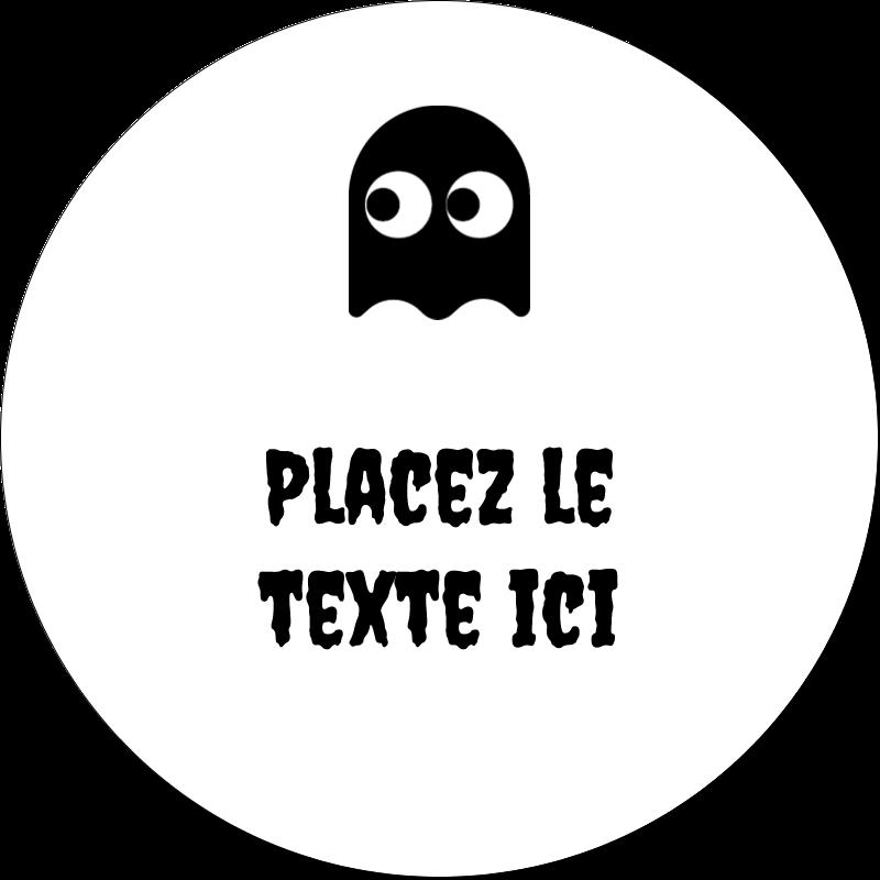 """2"""" Diameter Étiquettes rondes gaufrées - Fantômes Pac-Man d'Halloween"""
