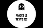 Fantômes Pac-Man d'Halloween Étiquettes rondes gaufrées - gabarit prédéfini. <br/>Utilisez notre logiciel Avery Design & Print Online pour personnaliser facilement la conception.