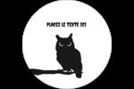 Chouette d'Halloween Étiquettes rondes gaufrées - gabarit prédéfini. <br/>Utilisez notre logiciel Avery Design & Print Online pour personnaliser facilement la conception.