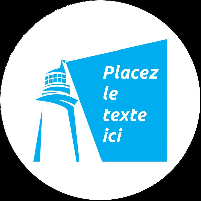 """2"""" Diameter Étiquettes rondes gaufrées - Phare bleu"""