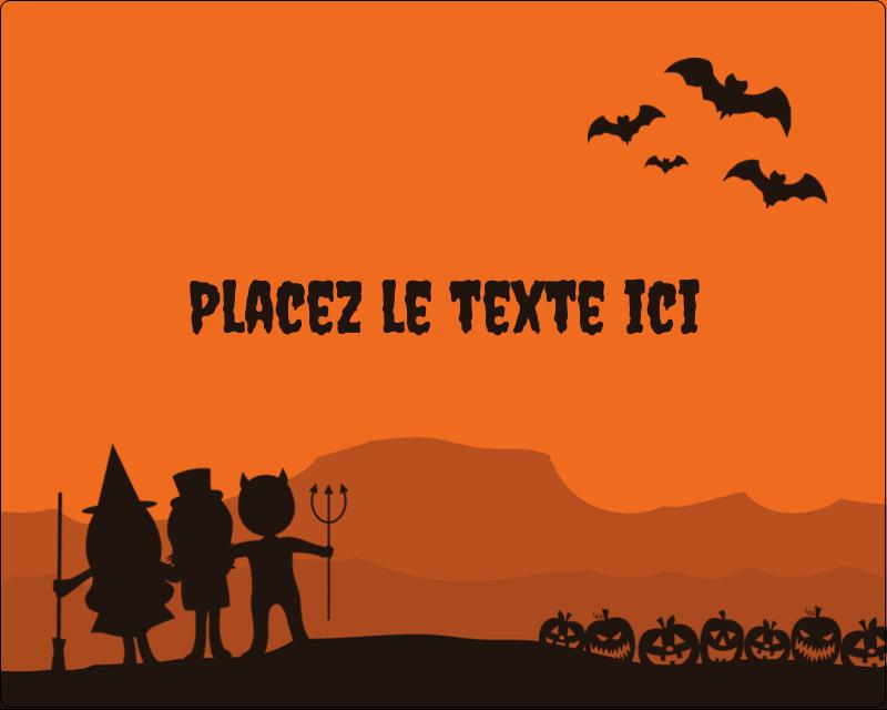 """3"""" x 3¾"""" Étiquettes rectangulaires - Enfants à l'Halloween"""