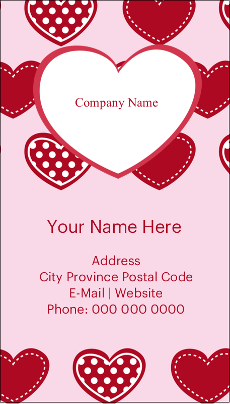 "3½"" x 2"" Business Card - Valentine Heart Pattern"