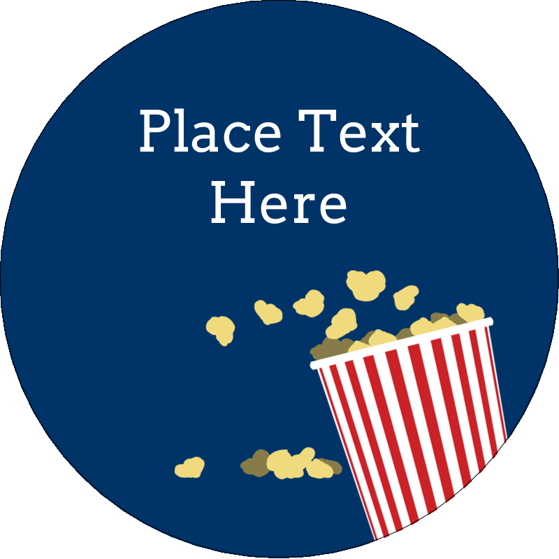 "3"" Round Label - Movie Popcorn"