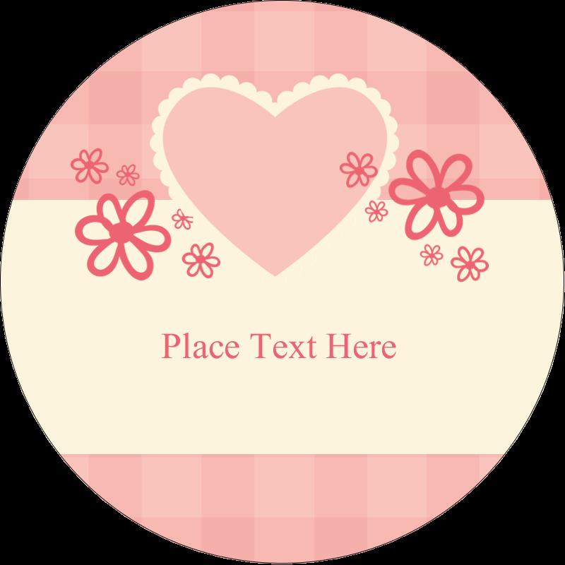 """3"""" Round Label - Valentine Gingham"""