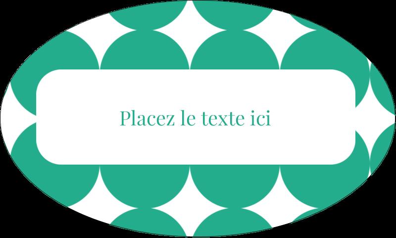 """1½"""" x 2½"""" Étiquettes ovales - Cercles vert sarcelle"""