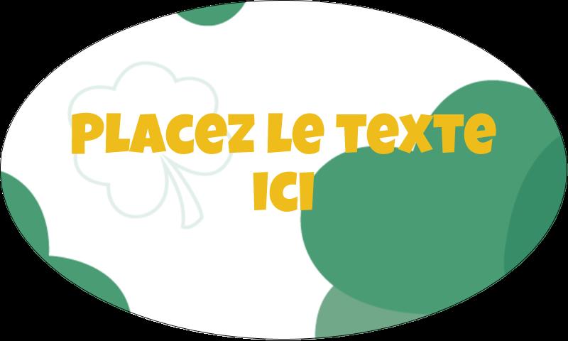 """1½"""" x 2½"""" Étiquettes ovales - Trèfles en cœur de la Saint-Patrick"""