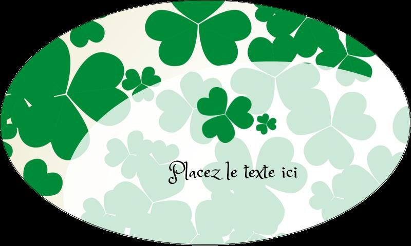"""1½"""" x 2½"""" Étiquettes ovales - Arrière-plan de trèfles de la Saint-Patrick"""