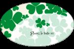 Arrière-plan de trèfles de la Saint-Patrick Étiquettes ovales - gabarit prédéfini. <br/>Utilisez notre logiciel Avery Design & Print Online pour personnaliser facilement la conception.