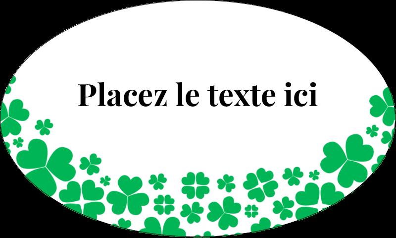 """1½"""" x 2½"""" Étiquettes ovales - Pluie de trèfles de la Saint-Patrick"""