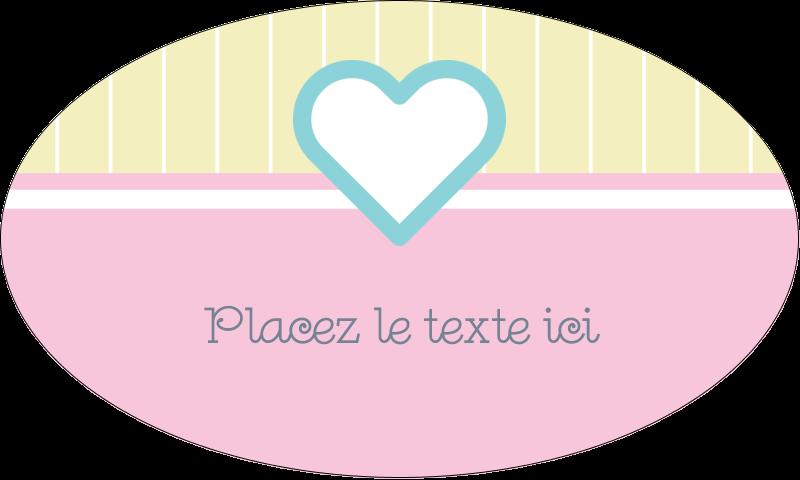 """1½"""" x 2½"""" Étiquettes ovales - Cœur bleu"""