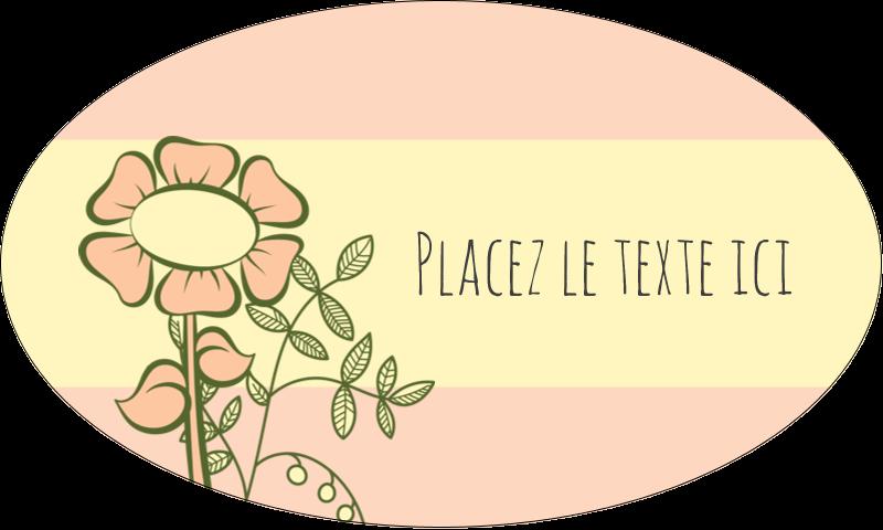 """1½"""" x 2½"""" Étiquettes ovales - Dessin floral"""