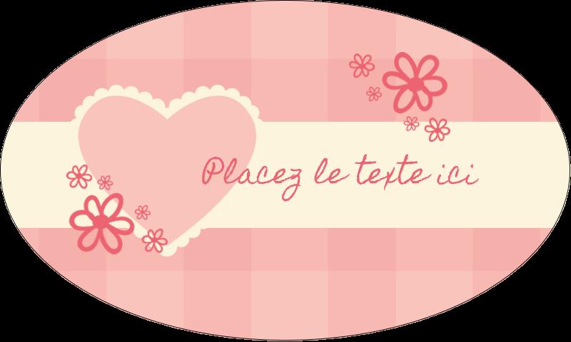 """1½"""" x 2½"""" Étiquettes ovales - Guingan de la Saint-Valentin"""