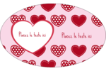 Cœur de Saint-Valentin Étiquettes ovales - gabarit prédéfini. <br/>Utilisez notre logiciel Avery Design & Print Online pour personnaliser facilement la conception.