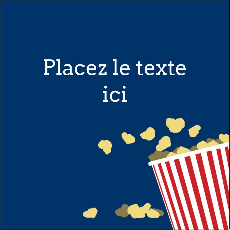 """1½"""" x 1½"""" Étiquettes carrées - Popcorn et film"""