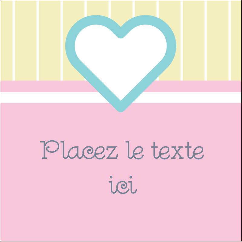 """1½"""" x 1½"""" Étiquettes carrées - Cœur bleu"""