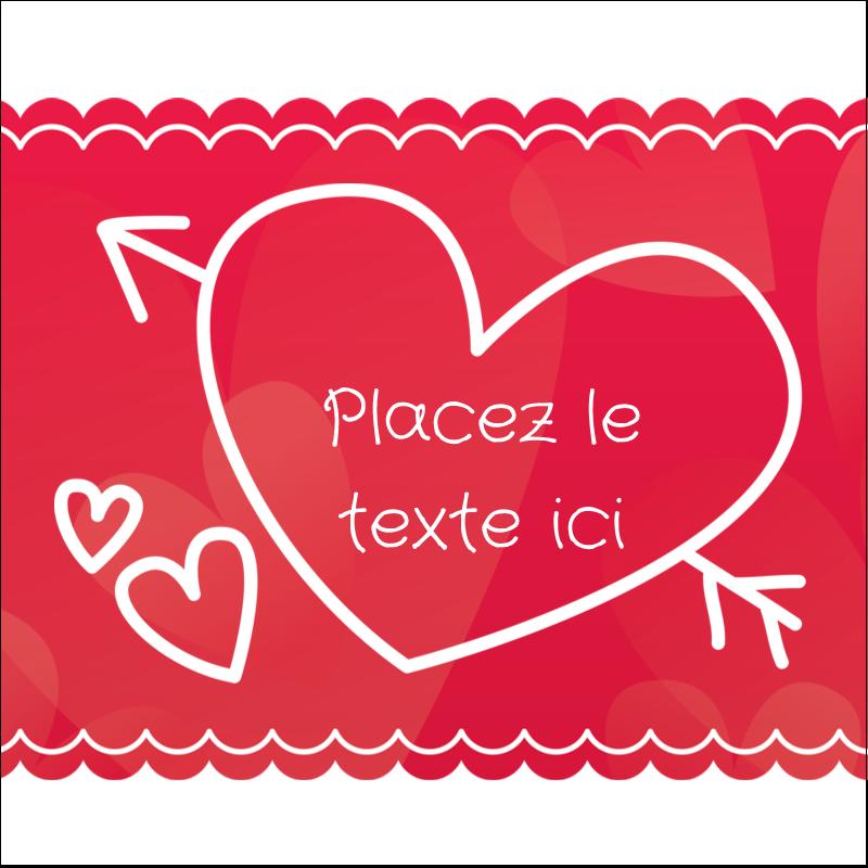 """1½"""" x 1½"""" Étiquettes carrées - Dessin de la Saint-Valentin"""
