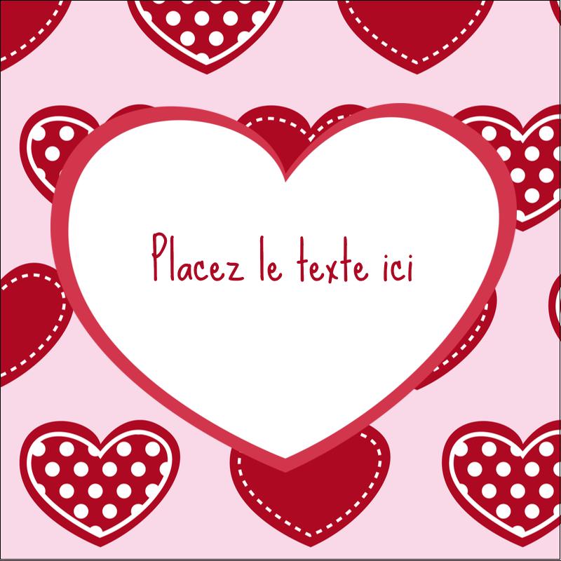 """1½"""" x 1½"""" Étiquettes carrées - Cœur de Saint-Valentin"""