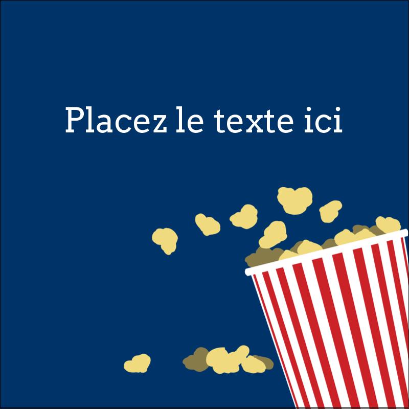 """2"""" x 2"""" Étiquettes carrées - Popcorn et film"""