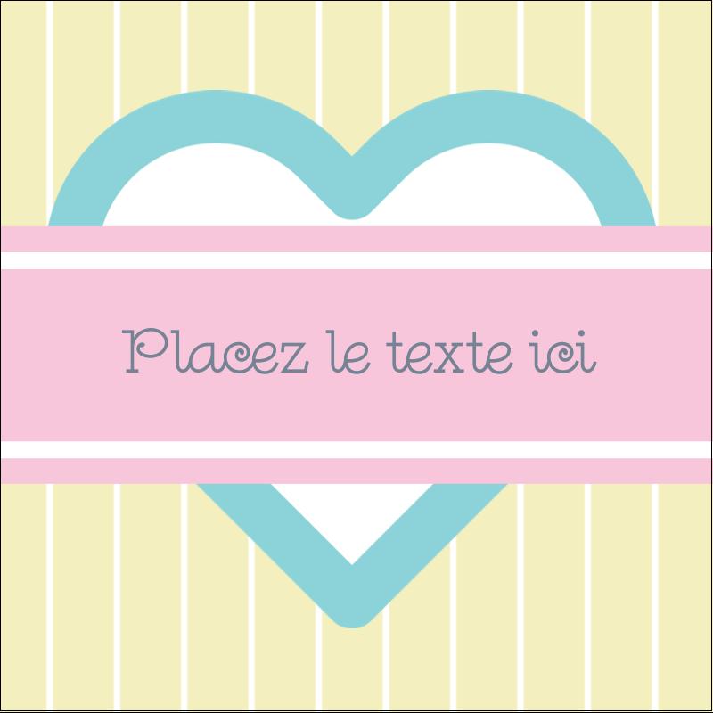 """2"""" x 2"""" Étiquettes carrées - Cœur bleu"""