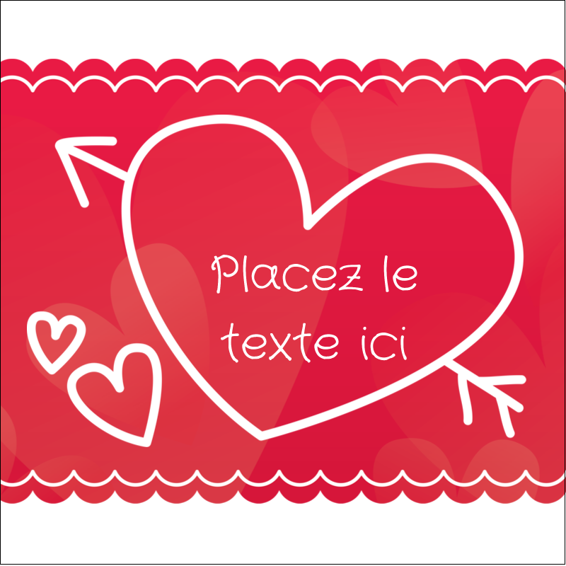 """2"""" x 2"""" Étiquettes carrées - Dessin de la Saint-Valentin"""