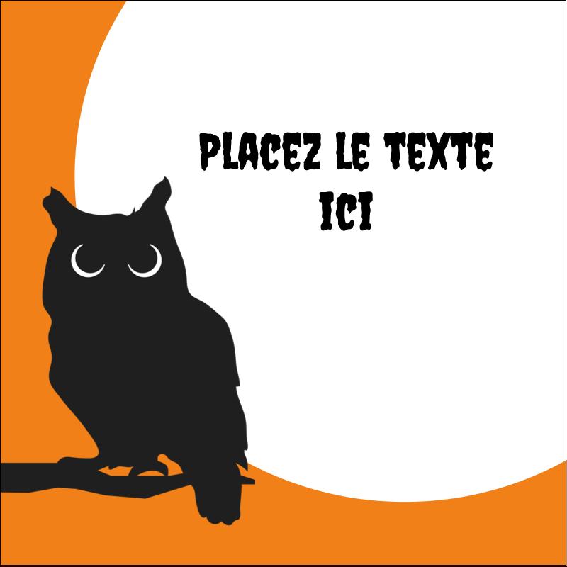 """2"""" x 2"""" Étiquettes carrées - Chouette d'Halloween"""