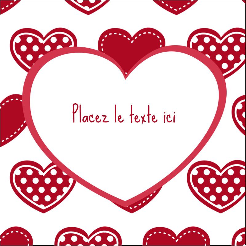 """2"""" x 2"""" Étiquettes carrées - Cœur de Saint-Valentin"""