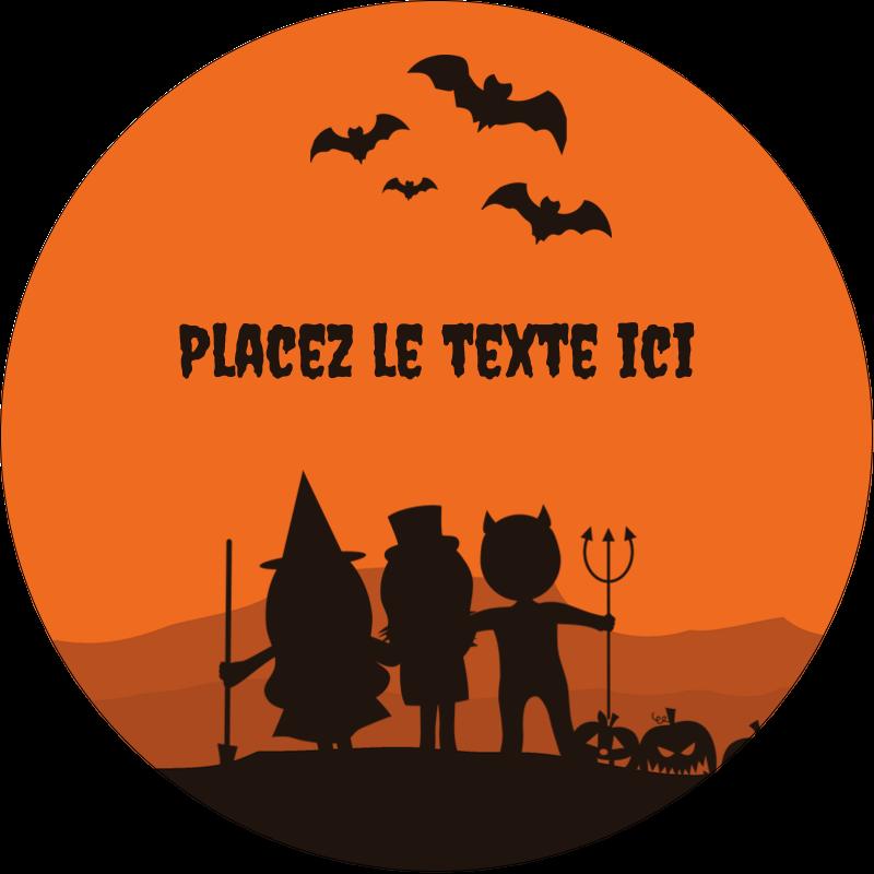 """2"""" Diameter Étiquettes rondes - Enfants à l'Halloween"""