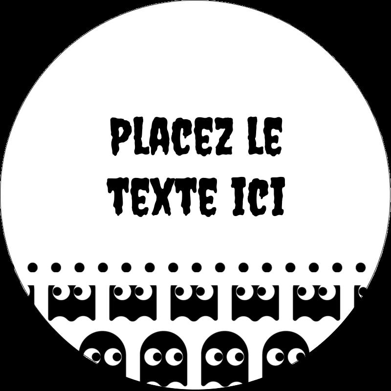 """2"""" Diameter Étiquettes rondes - Fantômes Pac-Man d'Halloween"""