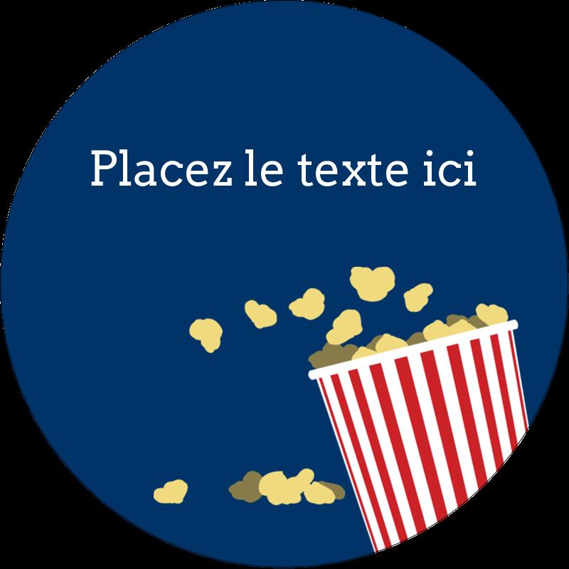 """2"""" Diameter Étiquettes rondes - Popcorn et film"""