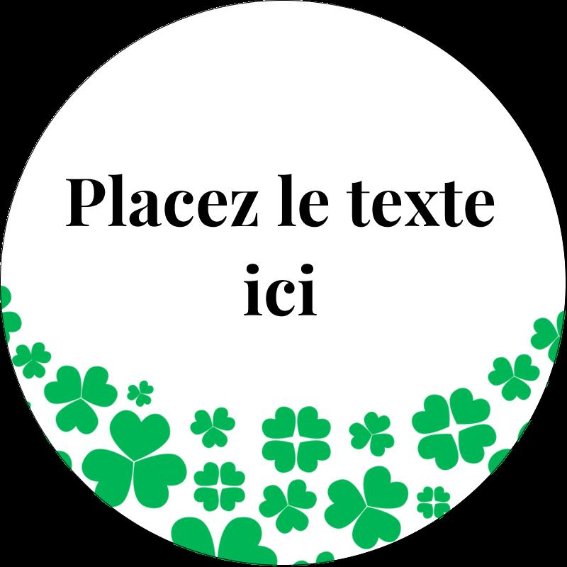 """2"""" Diameter Étiquettes rondes - Pluie de trèfles de la Saint-Patrick"""
