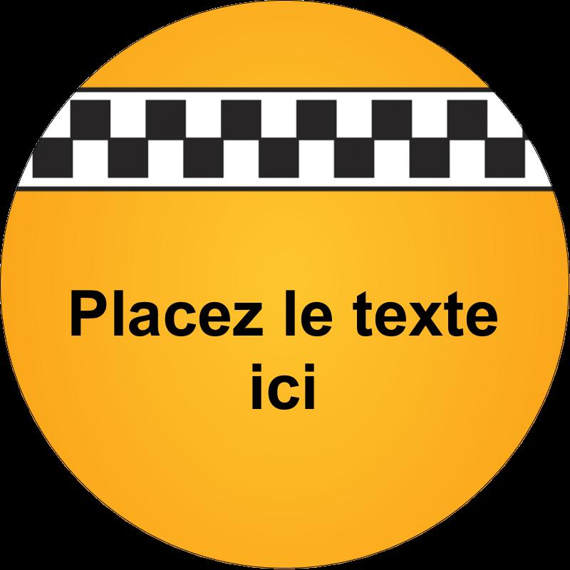 """2"""" Diameter Étiquettes rondes - Échiquier taxi"""