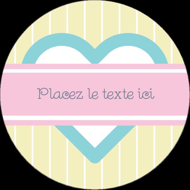 """2"""" Diameter Étiquettes rondes - Cœur bleu"""