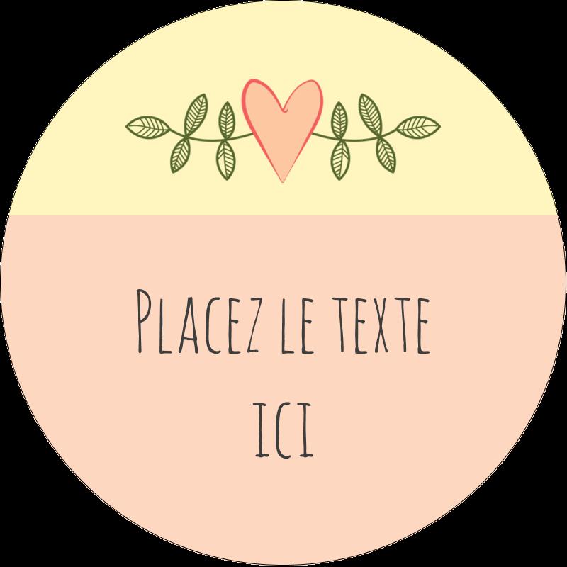 """2"""" Diameter Étiquettes rondes - Dessin floral"""