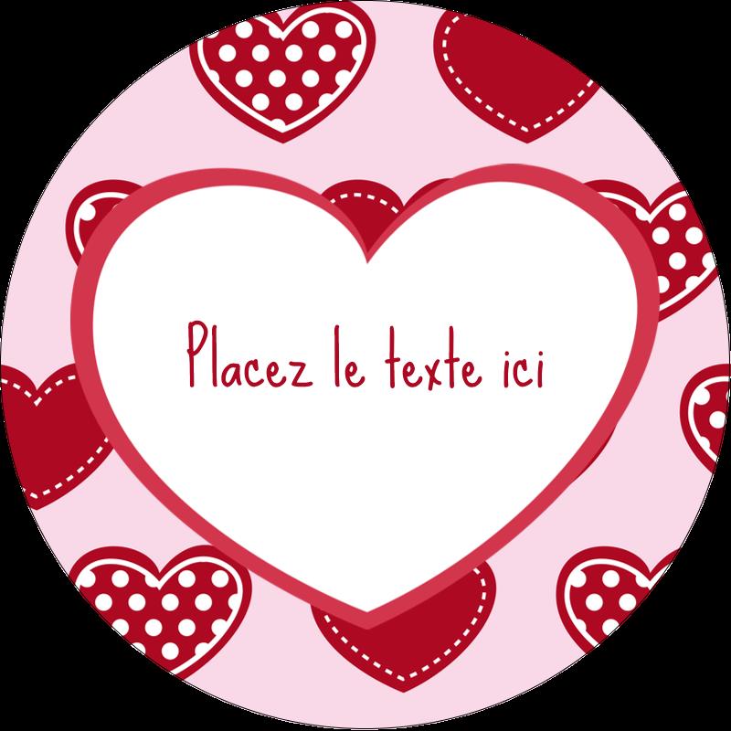 """2"""" Diameter Étiquettes rondes - Cœur de Saint-Valentin"""