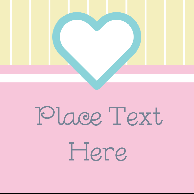 "1½"" x 1½"" Square Label - Blue Heart"