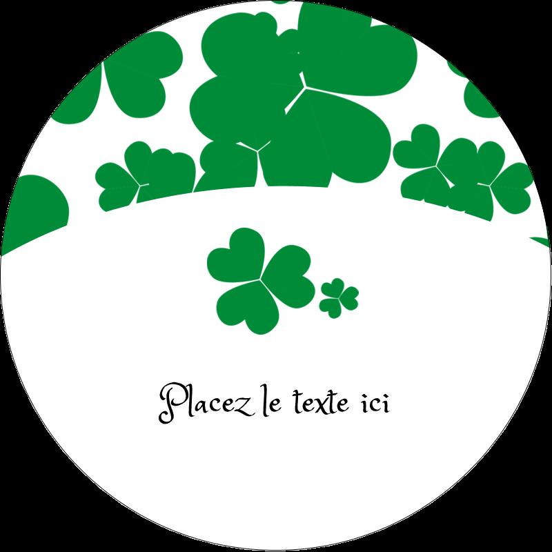 """2½"""" Diameter Étiquettes rondes - Arrière-plan de trèfles de la Saint-Patrick"""