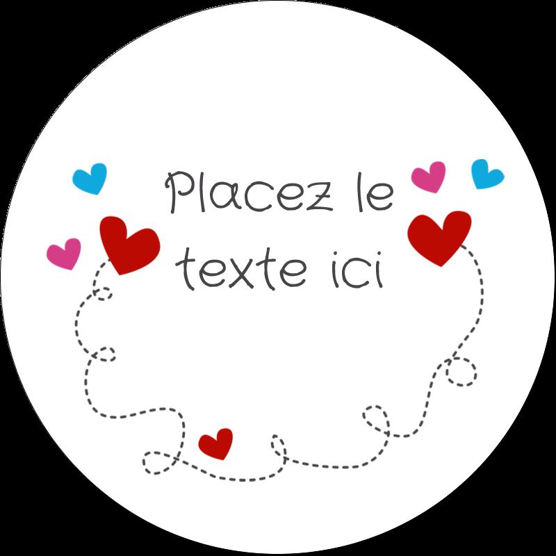 """2½"""" Diameter Étiquettes rondes - Saint-Valentin sur fond noir"""