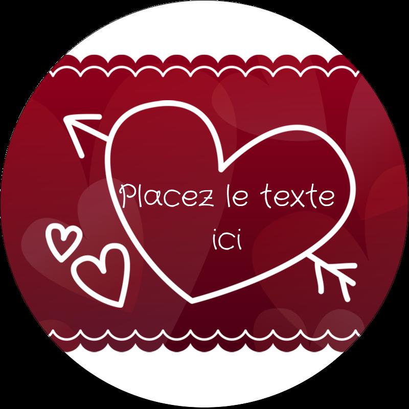"""2½"""" Diameter Étiquettes rondes - Dessin de la Saint-Valentin"""