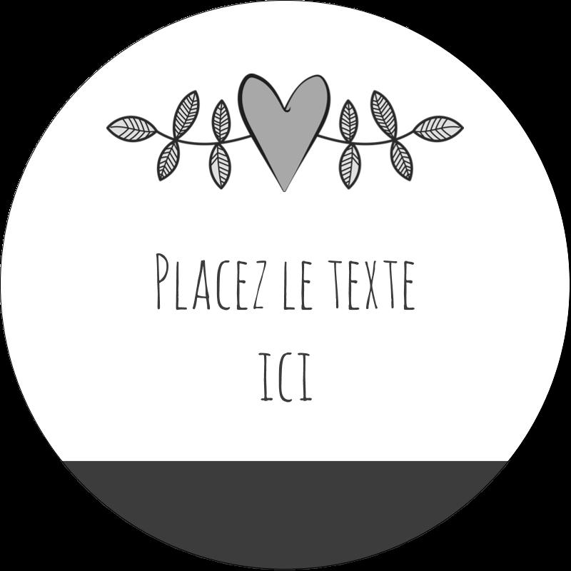 """2½"""" Diameter Étiquettes rondes - Dessin floral"""