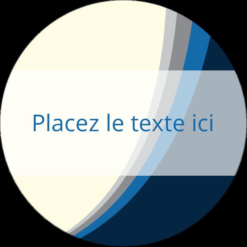 """2½"""" Diameter Étiquettes rondes - Vague bleue"""