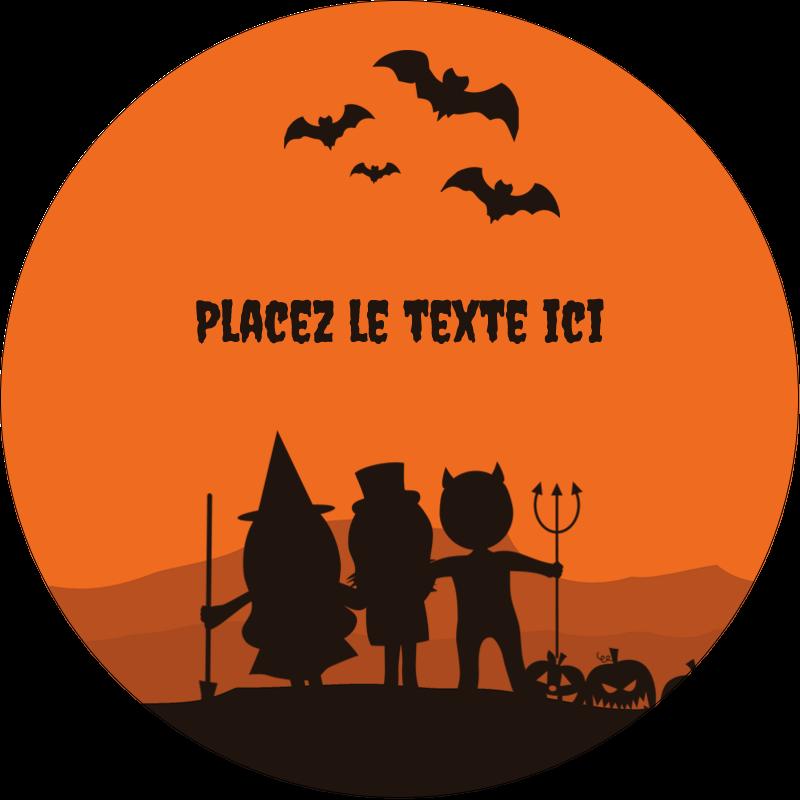 """2½"""" Diameter Étiquettes rondes - Enfants à l'Halloween"""
