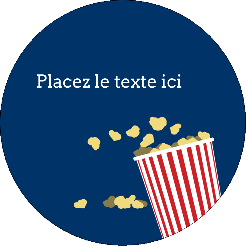 """2½"""" Diameter Étiquettes rondes - Popcorn et film"""