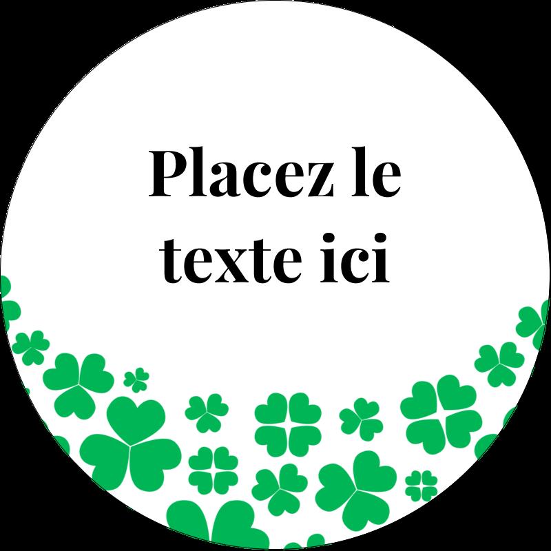 """2½"""" Diameter Étiquettes rondes - Pluie de trèfles de la Saint-Patrick"""