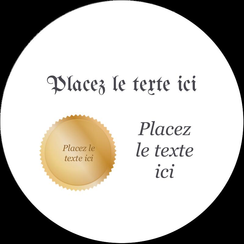 """2"""" Diameter Étiquettes rondes gaufrées - Diplôme d'études"""