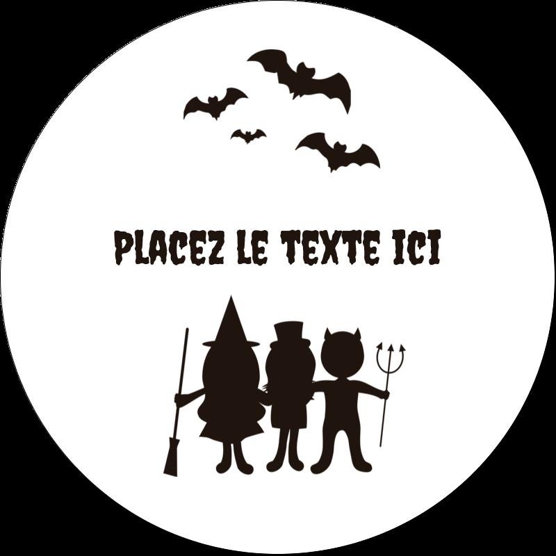 """2"""" Diameter Étiquettes rondes gaufrées - Enfants à l'Halloween"""