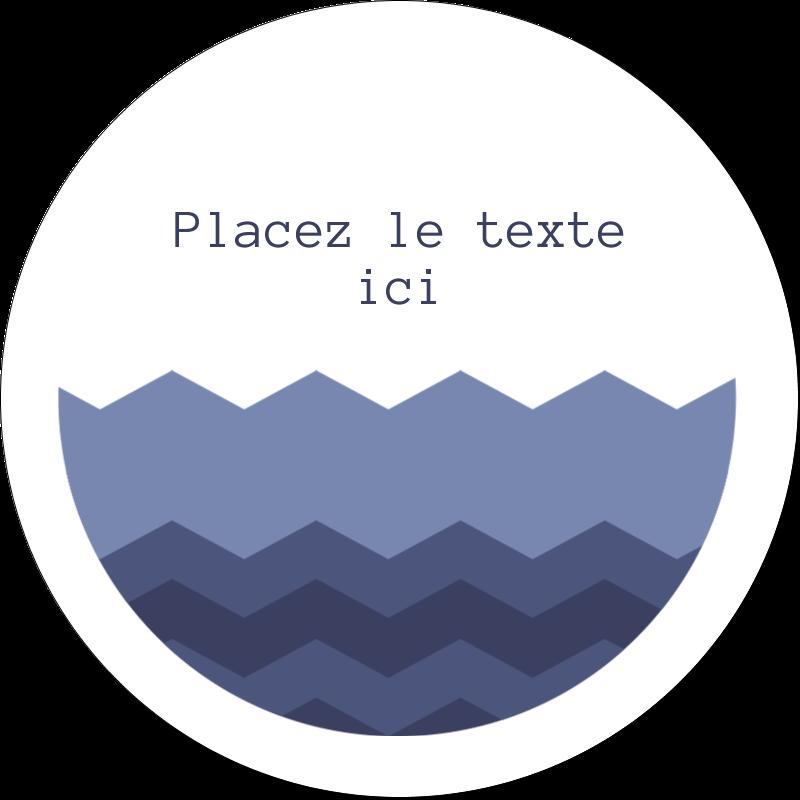"""2"""" Diameter Étiquettes rondes gaufrées - Chevron bleu"""