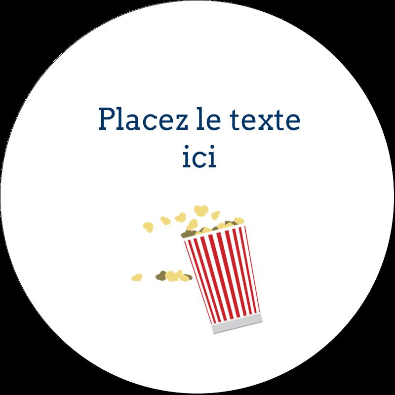 """2"""" Diameter Étiquettes rondes gaufrées - Popcorn et film"""