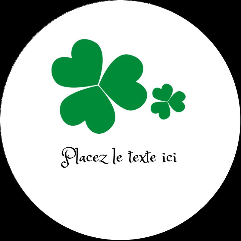 """2"""" Diameter Étiquettes rondes gaufrées - Arrière-plan de trèfles de la Saint-Patrick"""