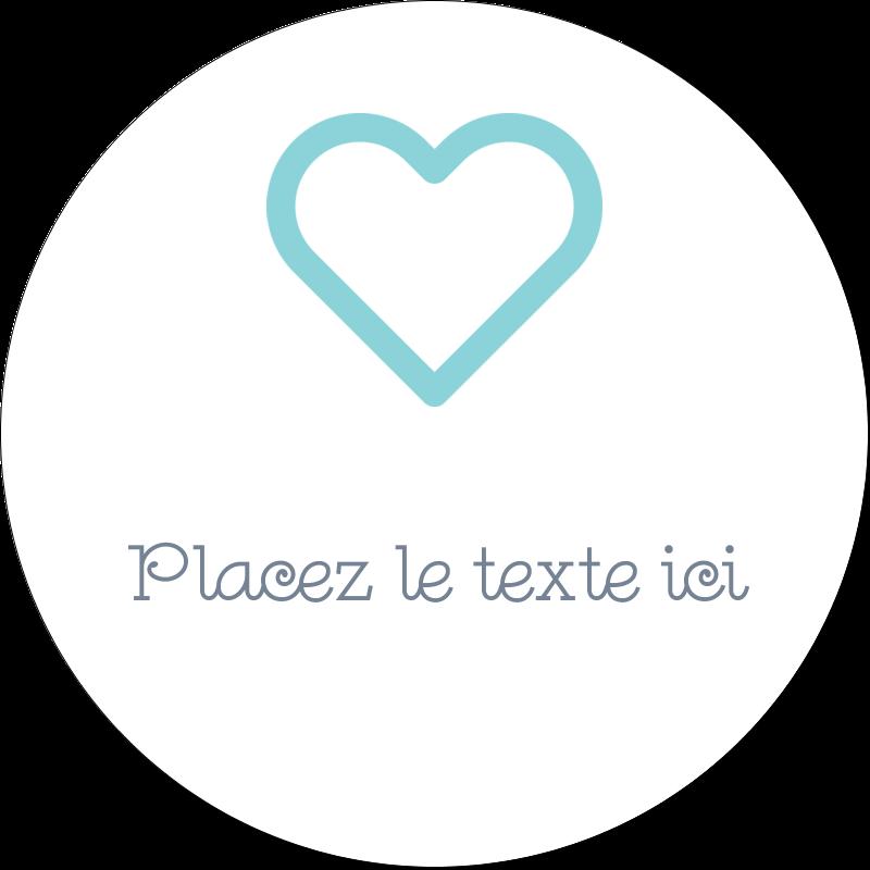 """2"""" Diameter Étiquettes rondes gaufrées - Cœur bleu"""