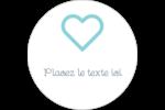 Cœur bleu Étiquettes rondes gaufrées - gabarit prédéfini. <br/>Utilisez notre logiciel Avery Design & Print Online pour personnaliser facilement la conception.